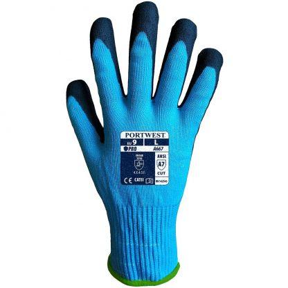Portwest A667 Claymore Cut Resistant Grip Glove, Blue HPPE, steel fiber, glass fiber shell