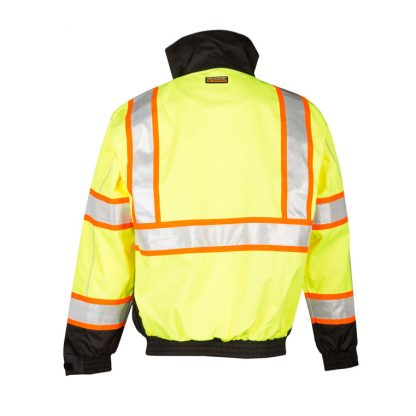High Visibility 2-in-1 Bomber Jacket - ML Kishigo JS119/120, Yellow Back