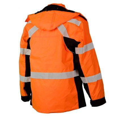 High Visibility Contrast Winter Jacket - ML Kishigo JS140/141, Orange Rear