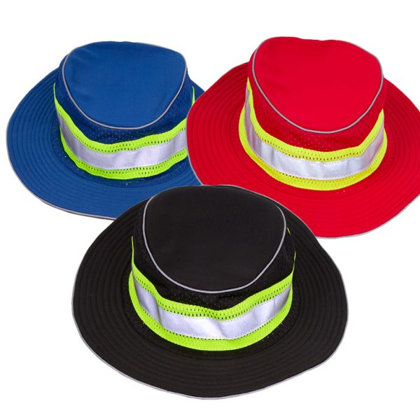 Enhanced Visibility Full Brim Safari Hat, red, blue or black