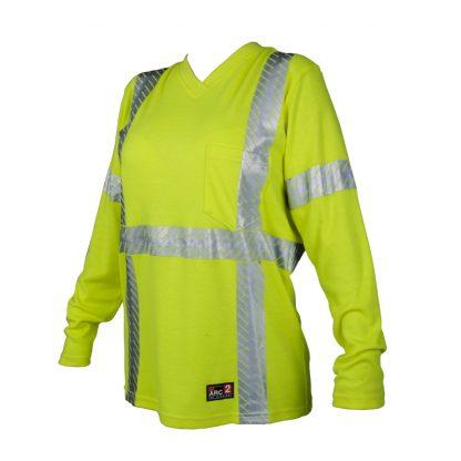 Women's High Visibility FR Long Sleeve T-Shirt - ML Kishigo F615, front side