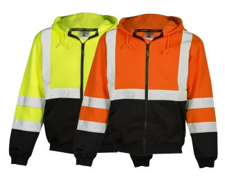 High Visibility Contrast Hoodie w/ Zipper - ML Kishigo JS102/103, yellow and orange