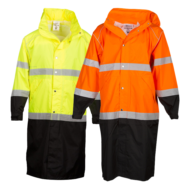 6eb45c1f60b7c3 High Visibility 50″ Raincoat- ML Kishigo RWJ108/109, Waterproof,  Reflective, Long Black Bottom, Non-sparking Zipper, Adjustable Cuffs, ANSI  107 Class 3