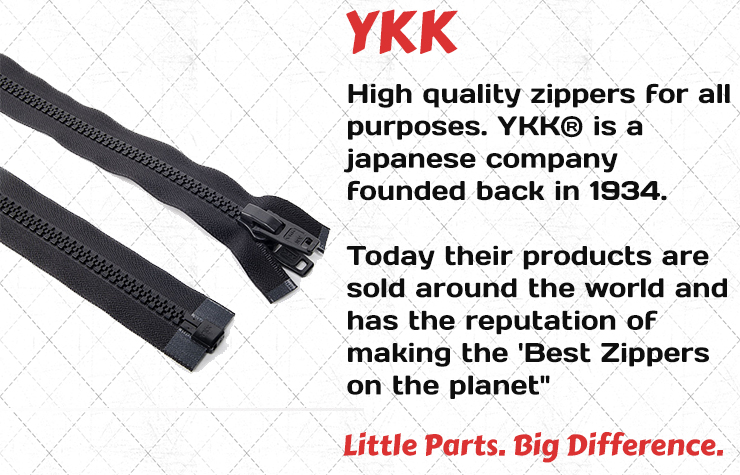 """High quality zippers for all purposes. YKK® is a japanese company founded back in 1934. Today their products are sold around the world and has the reputation of making the 'Best Zippers on the planet"""""""