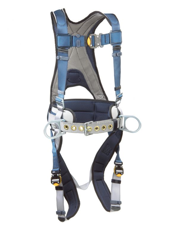ExoFit Construction-Style Harness with back D-ring, sewn-in back pad and belt with side D-rings, quick connect buckles.