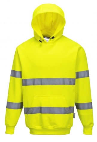 High Visibility Hooded Sweatshirt - Portwest B304, Yellow