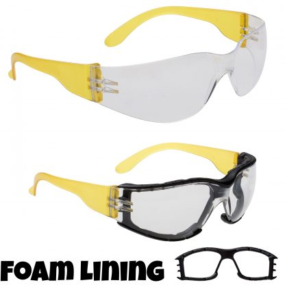 Wrap Around+ Safety Glasses - Portwest PS32, Detachable Foam Lining
