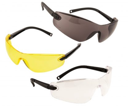 Frameless Safety Glasses - Portwest PW34, Available in Amber, Smoke or Clear