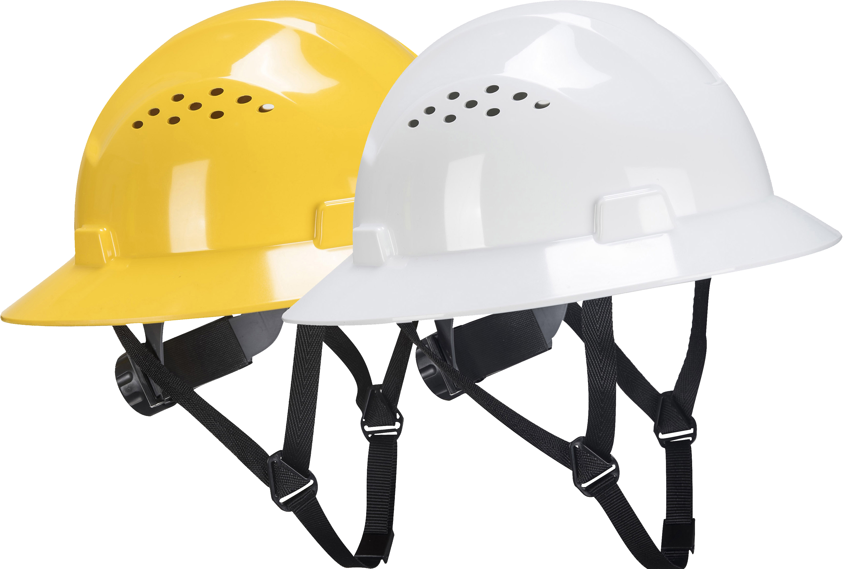 68768aad2 Vented Full Brim Hard Hat, Ratchet Suspension – Portwest PW52, Vented, HDPE  Shell, 4-point Nylon Harness, Soft Sweatband, Adjustable from 20.4