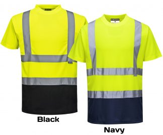 Two-tone High Visibility T-shirt - Portwest S378, Black and Navy