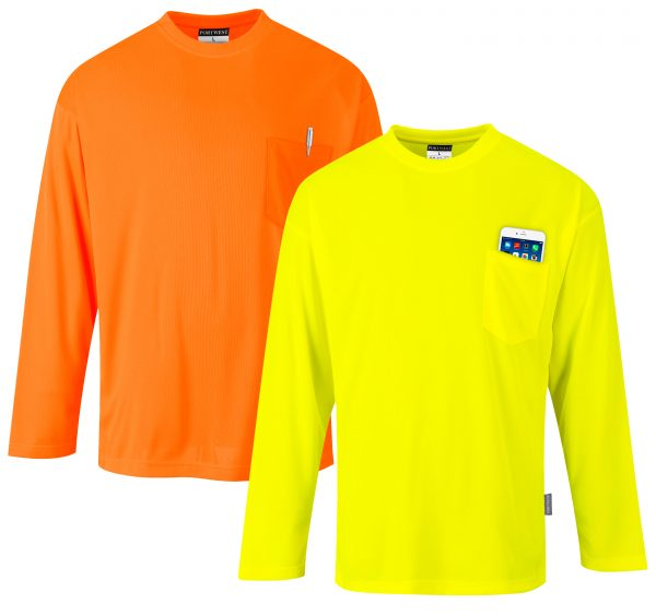 Non-rated High Visibility Long Sleeve T-shirt - Portwest S579, Orange or Yellow