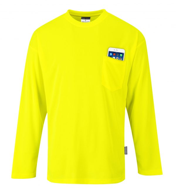 Non-rated High Visibility Long Sleeve T-shirt - Portwest S579, Yellow