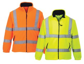 High Visibility Mesh-lined Fleece Jacket - Portwest UF300, Orange or Yellow