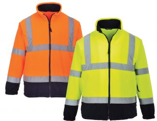 High Visibility Two-tone Fleece Jacket - Portwest UF301, Orange or Yellow