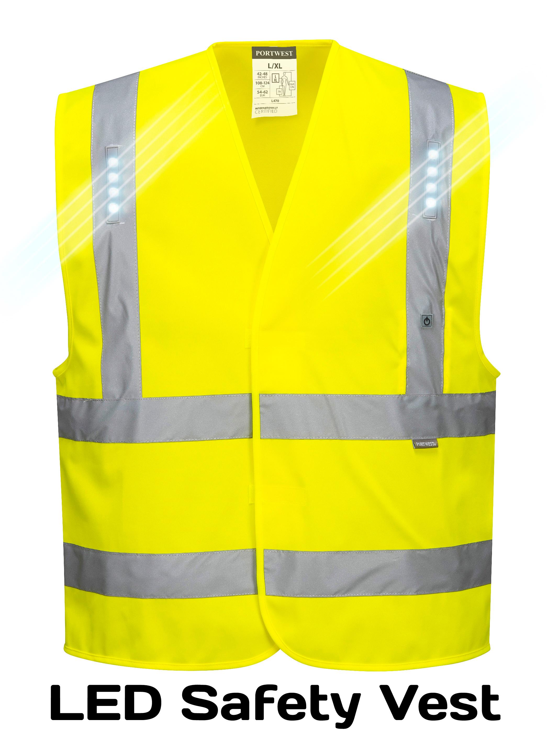 Light Up Led High Visibility Safety Vest Portwest L470
