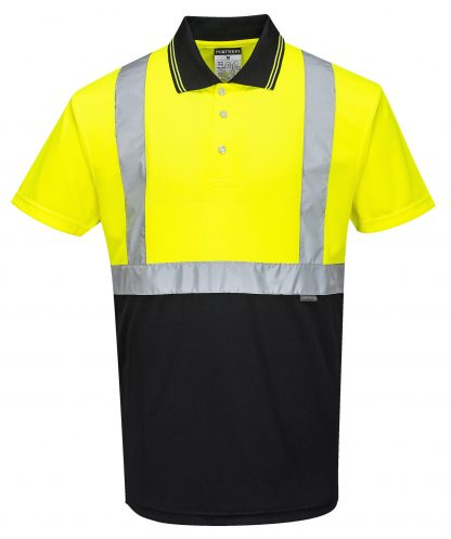 Two-tone High Visibility Polo - Portwest S479, Black