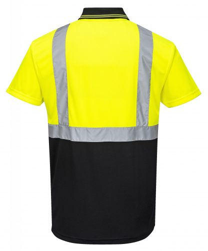 Two-tone High Visibility Polo - Portwest S479, Black, Rear