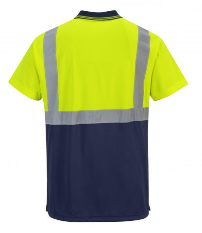 Two-tone High Visibility Polo - Portwest S479, Navy, Rear