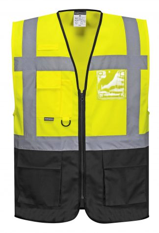 High Visibility Safety Vest w/ Black Bottom - Portwest UC476, Front