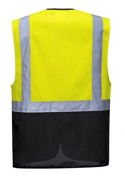 High Visibility Safety Vest w/ Black Bottom - Portwest UC476, Back