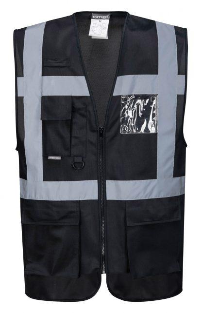 Iona Reflective Executive Safety Vest - Portwest UF476, Black
