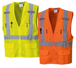 High Visibility Full Mesh Safety Vest - Portwest US370, Available in Yellow or Orange