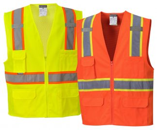 Two-tone High Visibility Mesh Vest - Portwest US372, Available in both yellow and Orange