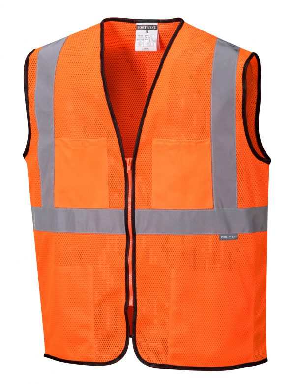 Inexpensive High Visibility Safety Vest - Portwest US380, Orange