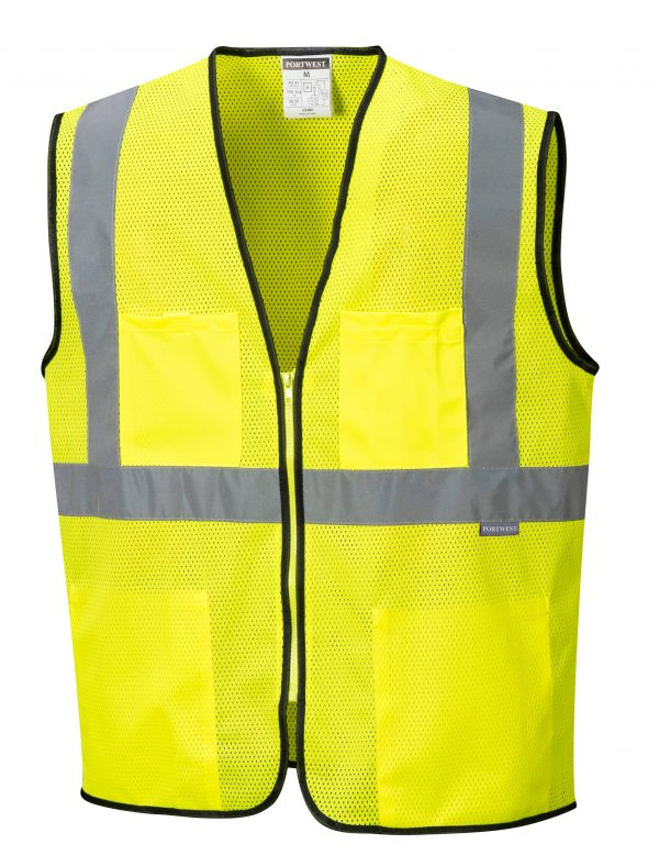 Inexpensive High Visibility Safety Vest - Portwest US380, Yellow