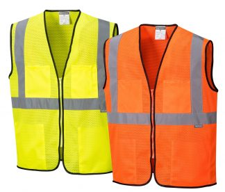 Inexpensive High Visibility Safety Vest - Portwest US380, Available in Yellow or Orange