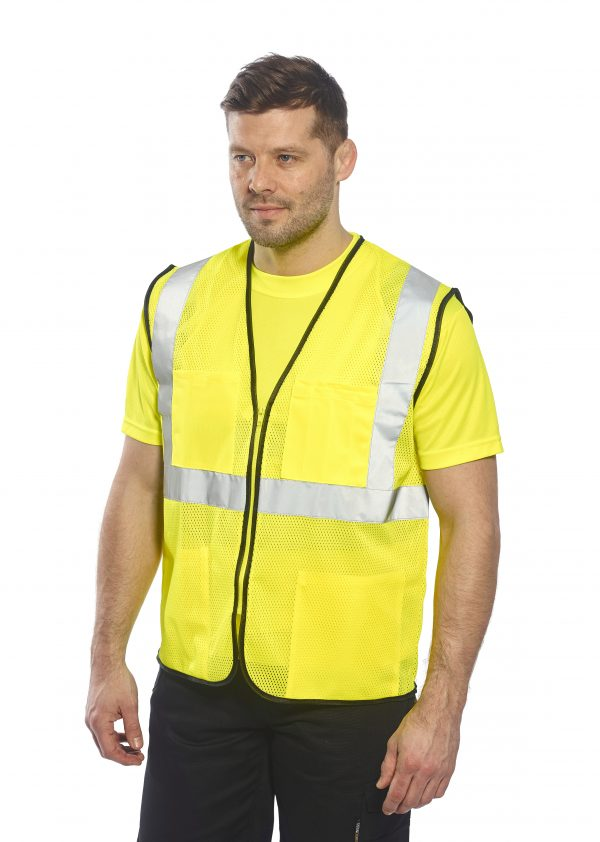 Inexpensive High Visibility Safety Vest - Portwest US380, Yellow 2