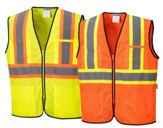High Visibility Contrast Safety Vest - Portwest US381, Available in Yellow or Orange