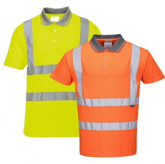 High Visibility Short-sleeve Polo - Portwest RT22, Yellow or Orange
