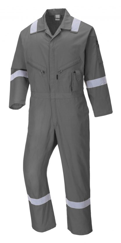 Portwest C814 Unisex Reflective Coveralls, 8 Pockets, gray