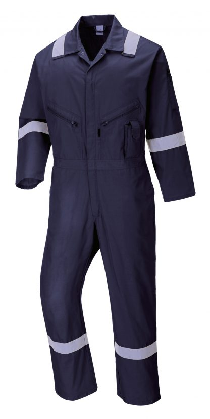 Portwest C814 Unisex Reflective Coveralls, 8 Pockets, navy