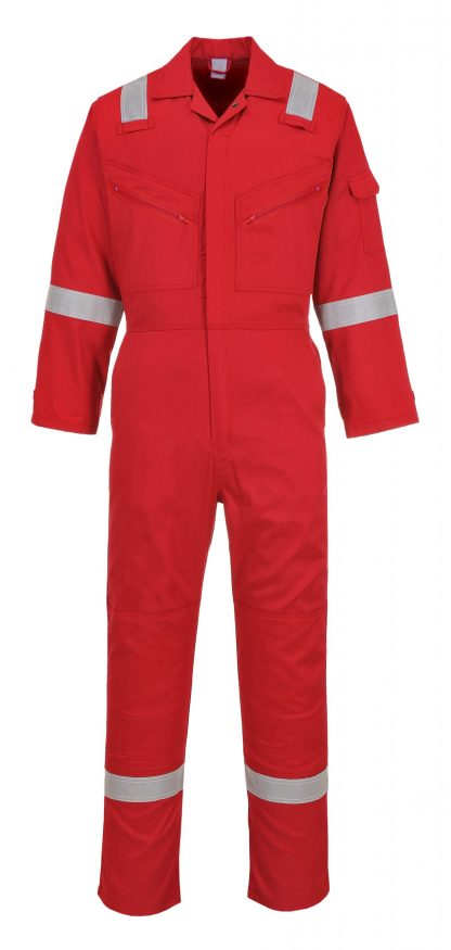 Portwest C814 Unisex Reflective Coveralls, 8 Pockets, red