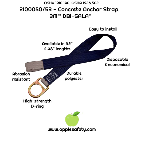 2100050 2100053 - Concrete anchor strap w/D-ring, 3-1/2 ft. lengthm applesafety,chart