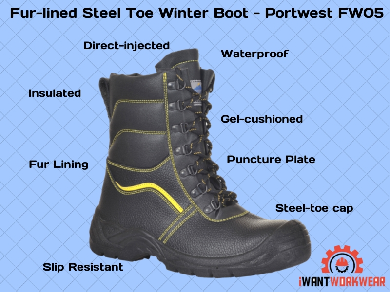 Portwest FW05 Fur-lined winter work boots with steel toe, waterproof, insulated ,warm, comfortable and makes your feet smile