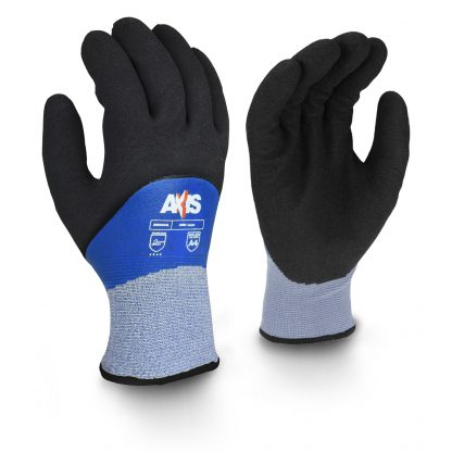 Radians RWG605 Cut Protection Level A4 Cold Weather Glove - The Radians RWG605 cold weather glove provides EN388 level 5 protection and ANSI level 4 protection against cuts. The RWG605 features a 13 gauge knitted HPPE outer shell with a smooth blue latex coating and a 7 gauge Acrylic inner shell to provide extra protection and comfort. The palm has a black foam latex coating that provides excellent protection from abrasion in wet or dry, cold weather conditions.