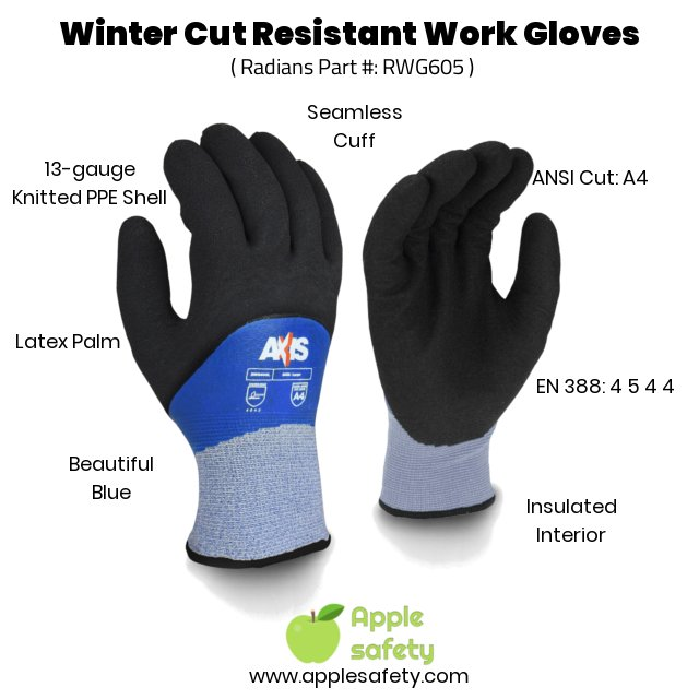 Radians RWG06 Winter Cut Resistant Work Gloves, Blue, EN 544, ANSI Cut level A4
