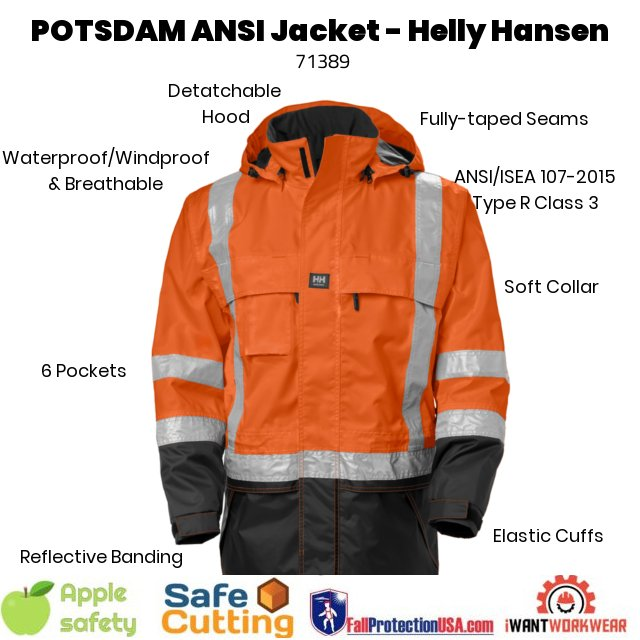 Helly Hansen POTSDAM 71389 Jacket, The POTSDAM is a bright shining beacon of hope designed to protect against all things cold and dark. This ANSI 107 compliant work jacket is waterproof, windproof and breathable. The hood is removable, and extra-large to accommodate helmets. This jacket is fully adjustable and comes with 6 pockets (including waterproof cellphone/pen pocket).