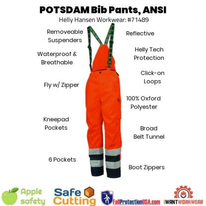 Helly Hansen Workwear 71489 The POTSDAM is a bright shining beacon of hope designed to protect against all things cold and dark. POTSDAM bib pants will keep you seen and dry. The pants: are hard to miss, include a fly, removable suspenders and boot zippers.