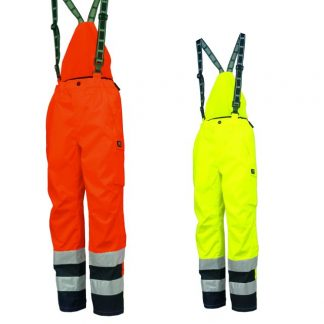 Helly Hansen 71489 POTSDAM ANSI Bib Pants, Orange & Yellow, Front