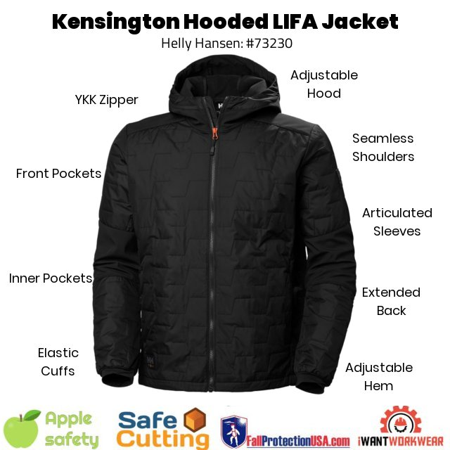 Helly Hansen 73230 KENSINGTON HOODED Jacket, Black, Built with Lifaloft-- a super lightweight insulating fabric that will keep you warmer, using less weight and bulk. The material does not absorb water. Better yet, this new technology creates less of a carbon footprint than common polyester.