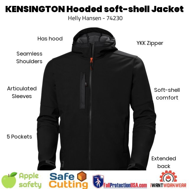 Helly Hansen 74230 Black Softshell Jacket Front - Seamless shoulders Articulated sleeves Extended back YKK Zipper 5 Pockets Highly versatile