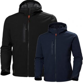 Helly Hansen 74230 Navy Softshell Jacket Front and back, black and navy