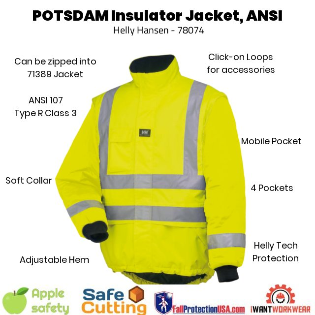 Helly Hansen POTSDAM LINER JACKET - Orange and Yellow, Main, iWantworkwear Yellow front- Waterproof / Windproof / Breathable Reflective banding 4 Pockets Tail drop Stormflap Can be zipped into 71389 for extra warmth ANSI/ISEA 107-2015 Type R Class 3