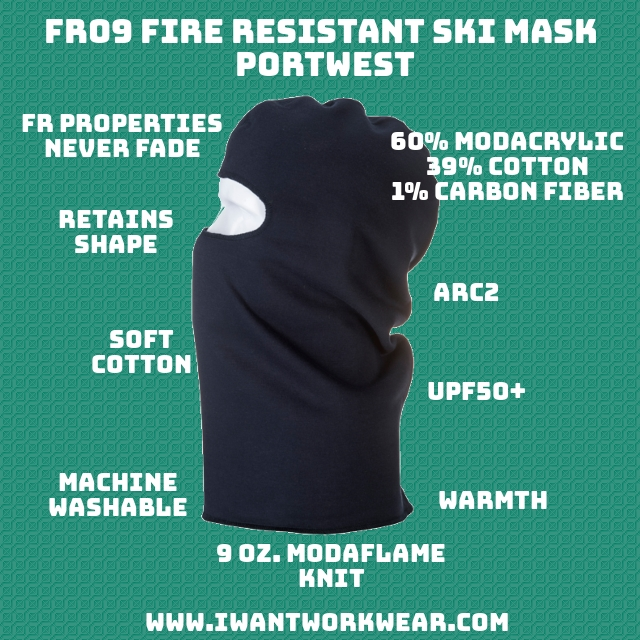 FR09 Anti-static Fire Resistant Ski Mask - Portwest - 9oz. Modaflame Knit FR properties NEVER diminish Anti-static Soft like a non-fr balaclava Breathable Retains shape