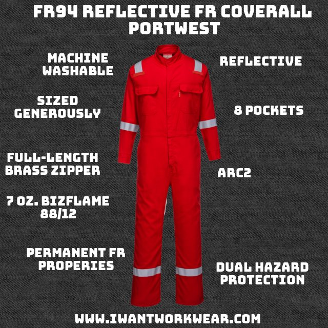 8 Pockets Reflective Protects against radiant and convective heat. Center Front Zip ARC: 2 ATPV: 8.2 cal/cm2 HAF: 69.1%
