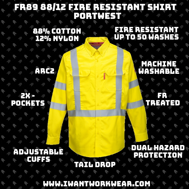 9.5oz - Bizflame 88/12 2x - Chest Pockets Dual Hazard Protection FR guaranteed for life of garment (50 washes) Adjustable cuffs Tail drop